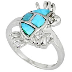 Natural blue larimar topaz 925 sterling silver crab ring size 8 a33151 c15146