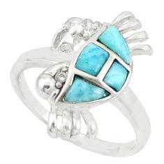 Natural blue larimar topaz 925 sterling silver crab ring size 9 c21917