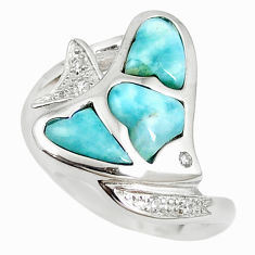 Natural blue larimar topaz 925 sterling silver fish ring size 7.5 a68641 c15107