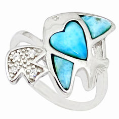 Natural blue larimar topaz 925 sterling silver fish ring size 7 a46883 c15023