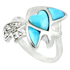 Natural blue larimar topaz 925 sterling silver fish ring size 7 a46893 c15030