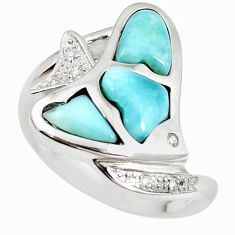 Natural blue larimar topaz 925 sterling silver fish ring size 7 a68642 c15110