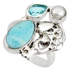 8.42cts natural blue larimar topaz 925 sterling silver fish ring size 7 d46027