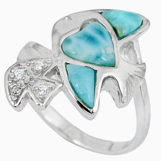 Natural blue larimar topaz 925 sterling silver fish ring size 8 a33121 c15035