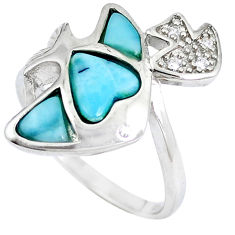 Natural blue larimar topaz 925 sterling silver fish ring size 8 a48915 c15036