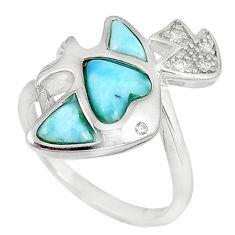 Natural blue larimar topaz 925 sterling silver fish ring size 8 a60730 c15031