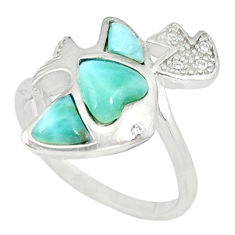 Natural blue larimar topaz 925 sterling silver fish ring size 9 a46899 c15025