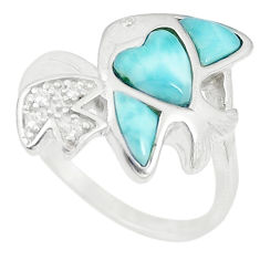 Natural blue larimar topaz 925 sterling silver fish ring size 9 a74767 c13242