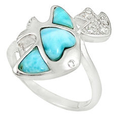 Natural blue larimar topaz 925 sterling silver heart ring size 8.5 a60757 c15028