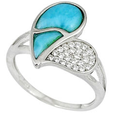 Natural blue larimar topaz 925 sterling silver ring size 7.5 a33188 c15066