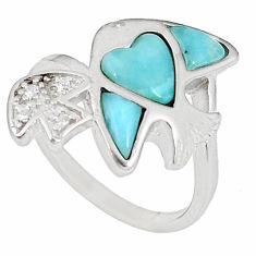 Natural blue larimar topaz 925 sterling silver ring size 7.5 a60751 c15027