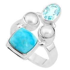 6.03cts natural blue larimar topaz pearl 925 sterling silver ring size 7 t10456