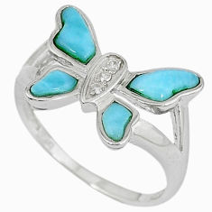Natural blue larimar white topaz 925 silver butterfly ring size 8 a33182 c15177