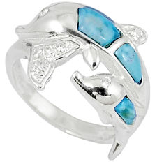 Natural blue larimar white topaz 925 silver dolphin ring size 7 a33085 c15013