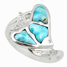 Natural blue larimar white topaz 925 silver fish ring size 9.5 a68643 c15103