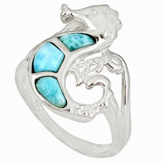 Natural blue larimar white topaz 925 silver seahorse ring size 6 a60681 c15199