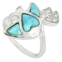 Natural blue larimar white topaz 925 sterling silver ring size 7.5 a60685 c15026