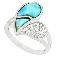 Natural blue larimar white topaz 925 sterling silver ring size 7 a60693 c15070