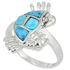 Natural blue larimar white topaz sterling silver crab ring size 7 a33156 c15157
