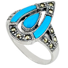 Natural blue magnesite marcasite 925 sterling silver ring size 7.5 c17547