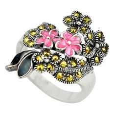 Natural blue marcasite enamel 925 sterling silver flower ring size 6.5 c22331