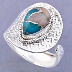 4.47cts natural blue opal in turquoise 925 silver adjustable ring size 9 r54798