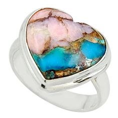 11.35cts natural blue opal in turquoise 925 sterling silver ring size 6.5 r42055