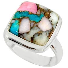 12.78cts natural blue opal in turquoise 925 sterling silver ring size 7.5 r42057