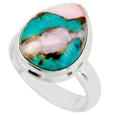 9.34cts natural blue opal in turquoise 925 sterling silver ring size 7 r42050