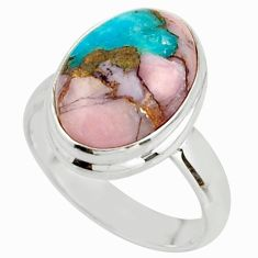 9.56cts natural blue opal in turquoise 925 sterling silver ring size 8 r42053