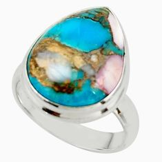 13.68cts natural blue opal in turquoise 925 sterling silver ring size 8 r42060
