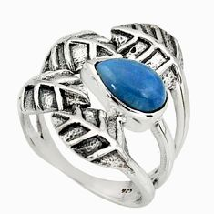 1.86cts natural blue owyhee opal 925 silver solitaire leaf ring size 5.5 r37078