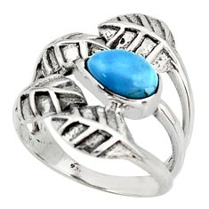 1.96cts natural blue owyhee opal 925 silver solitaire leaf ring size 7 r37080