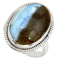 18.46cts natural blue owyhee opal 925 silver solitaire ring size 9.5 d46458