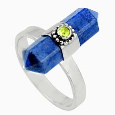 Clearance Sale- 7.67cts natural blue owyhee opal peridot 925 sterling silver ring size 8 d39103