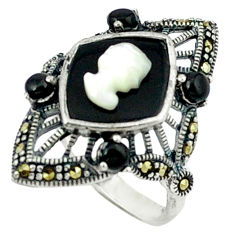 Natural blue pearl onyx 925 sterling silver ring jewelry size 6.5 c18655