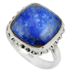 9.82cts natural blue quartz palm stone 925 silver solitaire ring size 7 r28619
