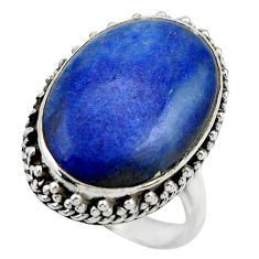 15.62cts natural blue quartz palm stone 925 silver solitaire ring size 8 r28610