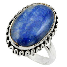 10.85cts natural blue quartz palm stone 925 silver solitaire ring size 8 r28612