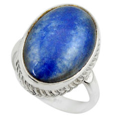 13.34cts natural blue quartz palm stone 925 silver solitaire ring size 8 r28617