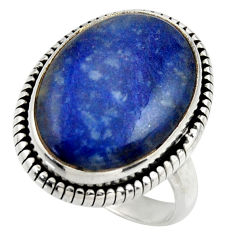 13.96cts natural blue quartz palm stone 925 silver solitaire ring size 8 r28670