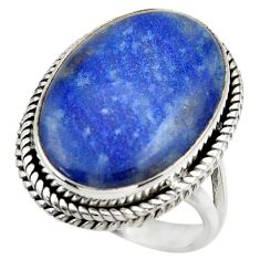 18.17cts natural blue quartz palm stone 925 silver solitaire ring size 9 r28618