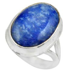 13.20cts natural blue quartz palm stone silver solitaire ring size 7.5 r28613