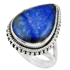 15.64cts natural blue quartz palm stone silver solitaire ring size 7.5 r28614