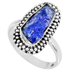 6.39cts natural blue raw tanzanite 925 silver solitaire ring size 7 r66709
