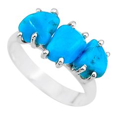 8.32cts natural blue raw turquoise rough 925 sterling silver ring size 7 t15006