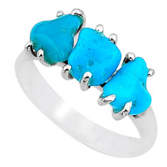 8.34cts natural blue raw turquoise rough 925 sterling silver ring size 9 t15003