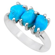 8.32cts natural blue raw turquoise rough 925 sterling silver ring size 9 t15005