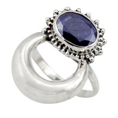3.11cts natural blue sapphire 925 silver half moon ring jewelry size 7 r41606