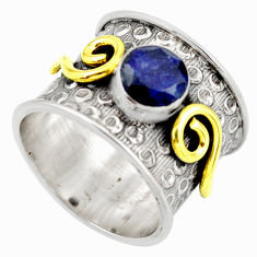 2.41cts natural blue sapphire 925 silver solitaire ring jewelry size 7.5 d45932